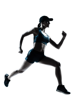 run out: one caucasian woman runner jogger in silhouette studio isolated on white background