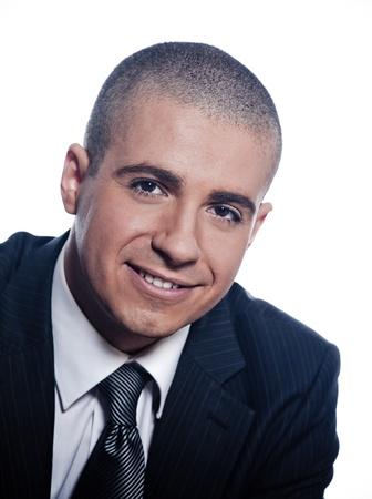 caucasian man businessman cheerful smile portrait isolated studio on white background photo