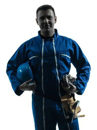 one caucasian repairman worker silhouette in studio on white background photo