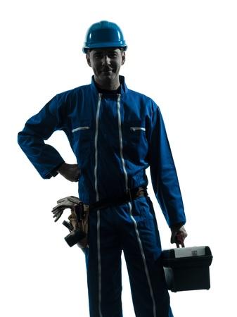 class maintenance: one caucasian repairman worker standing smiling  silhouette in studio on white background