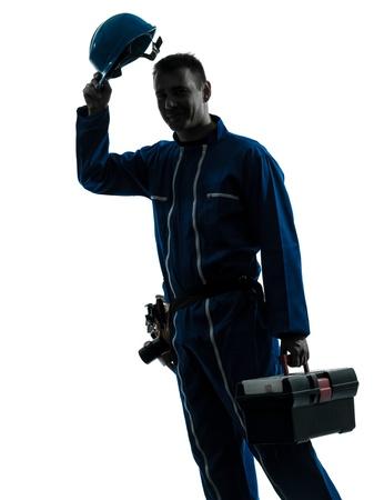 salut: en kaukasisk reparatör arbetare salutera silhuett i studion på vit bakgrund