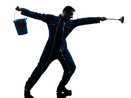 one caucasian janitor cleaner cleaning silhouette in studio on white background Stock Photo - 15800452