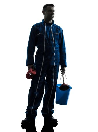 one caucasian janitor cleaner cleaning silhouette in studio on white background Stock Photo - 15800569