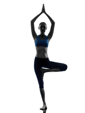 yoga studio: one caucasian woman exercising yoga tree pose in silhouette studio isolated on white background
