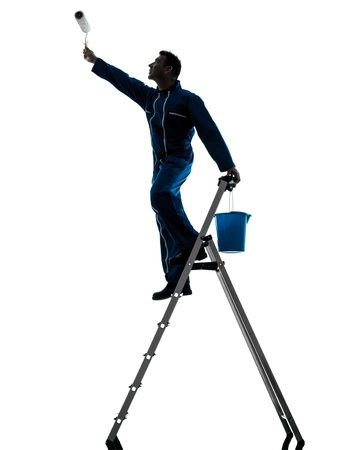 class maintenance: one caucasian man house painter worker silhouette in studio on white background Stock Photo