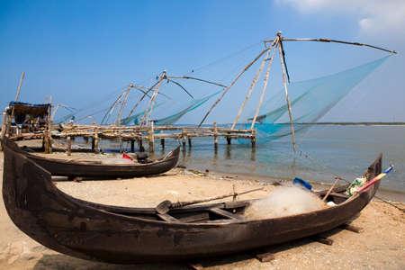 india fisherman: chinese fishing net of cochin in Kerala state india Stock Photo