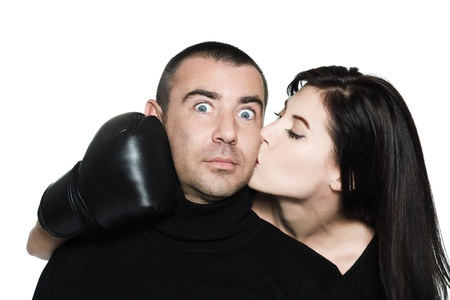 studio shot portrait on isolated white background of a  Funny, couple conciliation  fighting photo