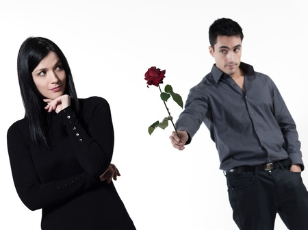 relationship problem: amn offering a rose to a woman