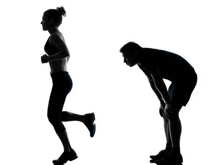 exhausted: one couple man woman exercising workout aerobic fitness posture full length silhouette on studio isolated on white background
