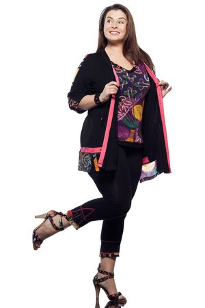 black pants: large build caucasian woman full length spring summer fashion models clothes clothings on studio isolated plain background