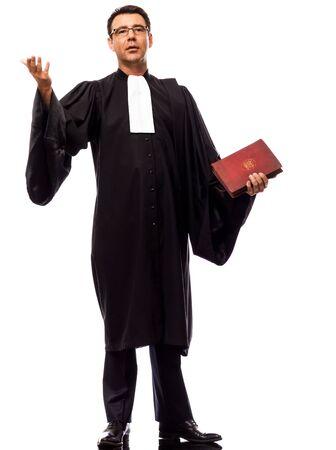 suplicando: un hombre cauc�sico abogado declararse en el estudio aislado sobre fondo blanco Foto de archivo