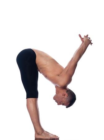 caucasian man gymnastic warm up isolated studio on white background photo