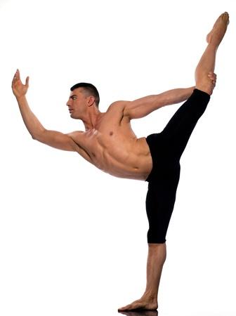 caucasian man gymnastic acrobatics balance isolated studio on white background photo