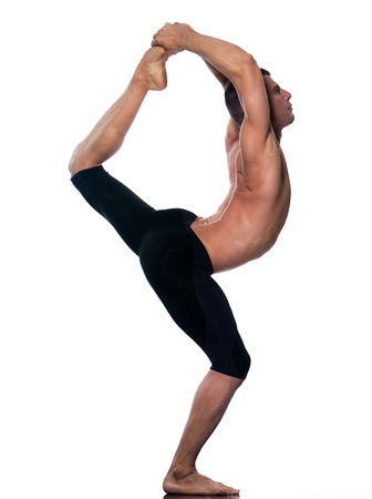 caucasian Man yoga natarajasana lord of the dancer pose gymnastic stretching acrobatics isolated studio on white background photo