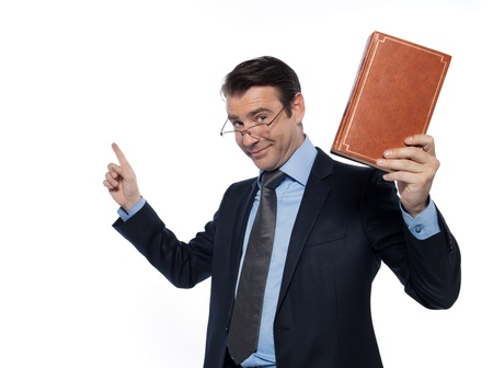 man caucasian teacher professor lecturing isolated studio on white background