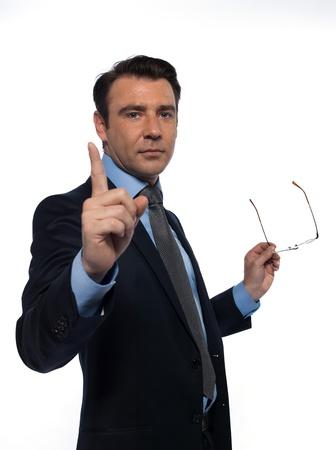 profesor: un profesor de ense�anza cauc�sico hombre haciendo se�as apuntando estudio vac�o espacio de la copia aislado sobre fondo blanco Foto de archivo