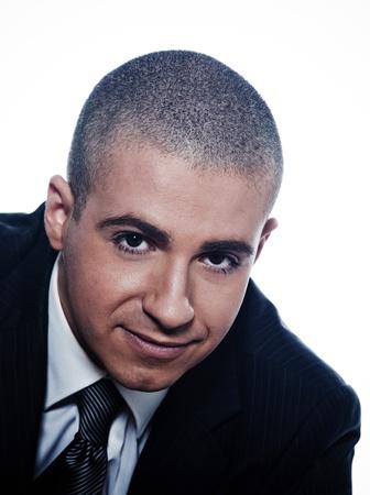 shaved head: caucasian man businessman cheerful smile portrait isolated studio on white background Stock Photo