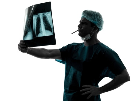 one caucasian man surgeon smoking medical worker silhouette isolated on white background Stock Photo - 16410139