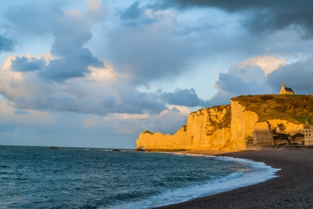 beautiful etretat beach in seine maritime normandie france photo