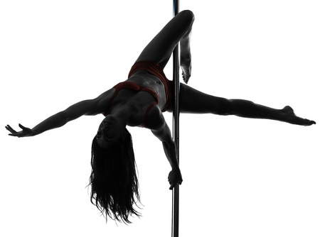 one caucasian woman pole dancer dancing in silhouette studio isolated on white background Stock Photo - 16391805