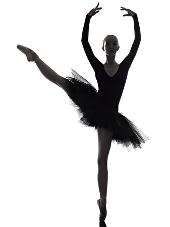 ballet dancer silhouette: one caucasian young woman ballerina ballet dancer dancing with tutu in silhouette studio on white background