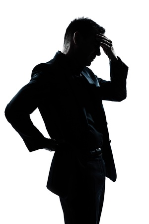 mature business man: one caucasian man portrait silhouette tired migraine backache in studio isolated on white background
