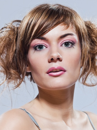 beautiful young caucasian woman girl on studio isolated background photo