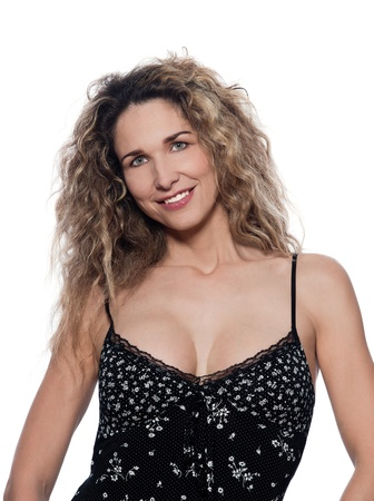 beautiful caucasian woman cheerful pose portrait wearing summer dresss isolated studio on white background photo