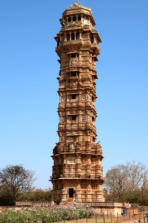 tower of victory inside the Chittorgarh fort aera in rajasthan state in india