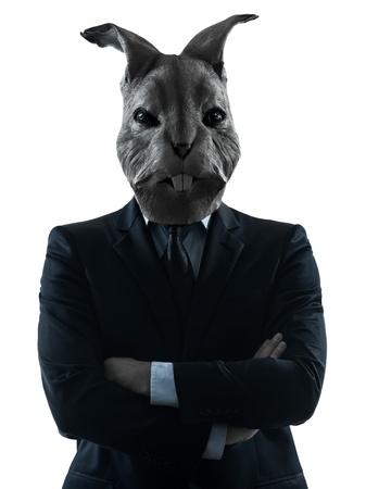 conejo: un hombre causasian conejo m�scara retrato en estudio silueta aislado en el fondo blanco