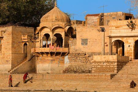 sagar: Gad sagar tank near jaisalmer in rajasthan state in indi