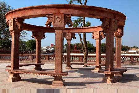 bikaner: public bench in city of Bikaner rajasthan state in indi