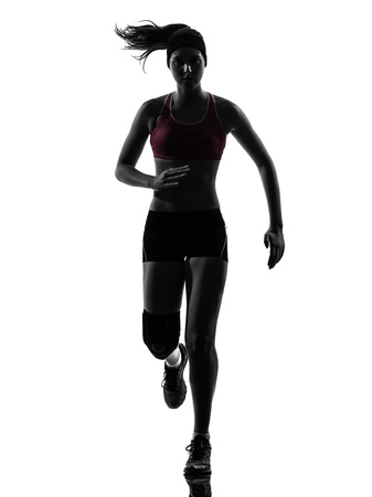 one causasian woman runner running marathon  in silhouette studio isolated on white background photo