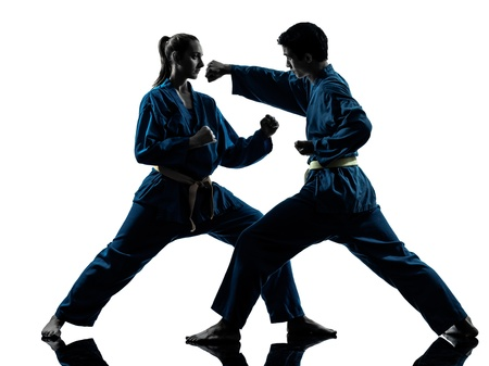 one  man woman couple exercising karate vietvodao martial arts in silhouette studio isolated on white background Stock Photo - 16716017