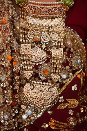 tradional: wedding dress details tradional costume in jaisalmer  in rajasthan state in india Stock Photo