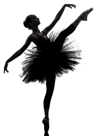 one caucasian young woman ballerina ballet dancer dancing with tutu in silhouette studio on white background Stock Photo - 16671301