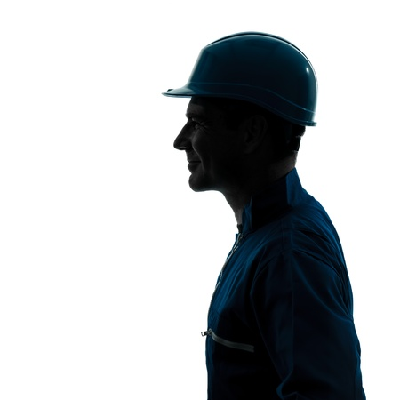 man profile: one caucasian man construction worker silhouette portrait in studio on white background