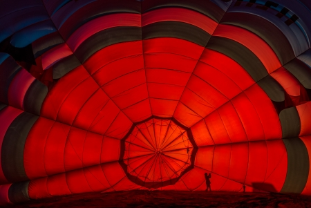 inside one Hot Air Balloon  in the countryside of France photo