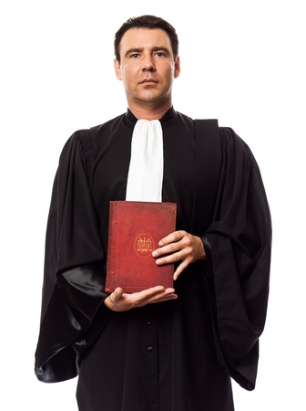 one caucasian lawyer man showing law book in studio isolated on white background Stock Photo - 16933404
