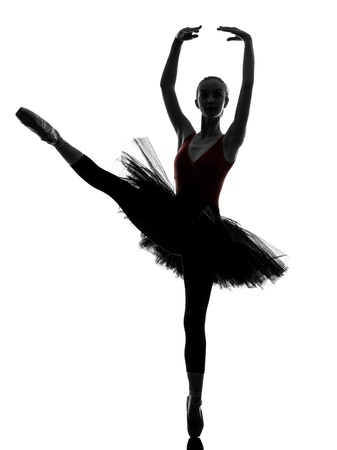 en pointe: one caucasian young woman ballerina ballet dancer dancing with tutu in silhouette studio on white background