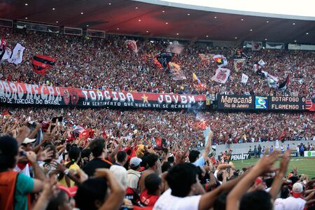 final of the soccer state championship 2007 between flamengo and botafogo in the maracana stadium in de janeiro brazil