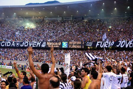 rio de janeiro: final of the soccer rio state championship 2007 between flamengo and botafogo in the maracana stadium in rio de janeiro brazil Editorial