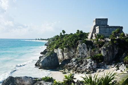 riviera maya: view of beach of the mayan archeologic site of tulum