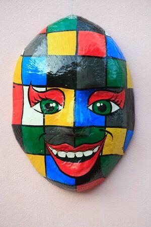 famous paintings: mask on the wall of olinda near recife pernambuco state brazil