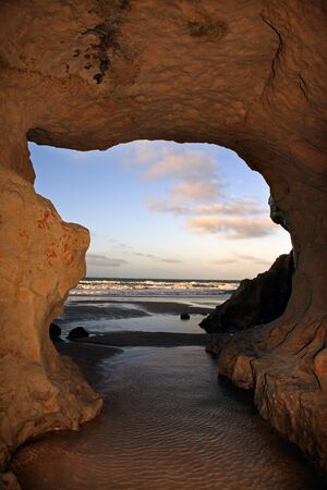 boulder: view of Praia das fontes the springs beach between morro branco and beberibe near fortaleza ceara state brazil