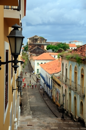streetscene: view of the historic center of the city of sao luis of maranhao in brazil