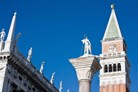 campanile with the lion statue pazzia san marco saint mark square in the beautiful city of venice in italy Stock Photo - 16922641