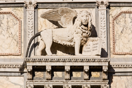 saint marco: satue of the saint mark lion pazzia san marco saint mark place in the beautiful city of venice in italy