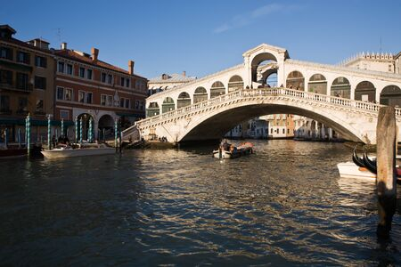 rialto bridge: rialto bridge area in the beautiful city of venice in italy Stock Photo