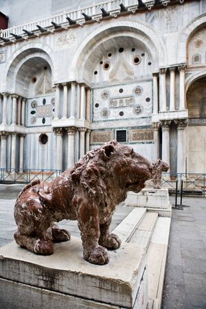 satue of the saint mark lion pazzia san marco saint mark place in the beautiful city of venice in italy